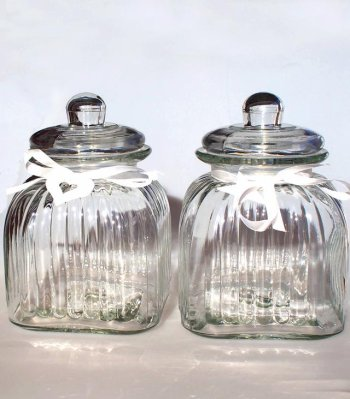 Glass jar 24 cm with a decoration