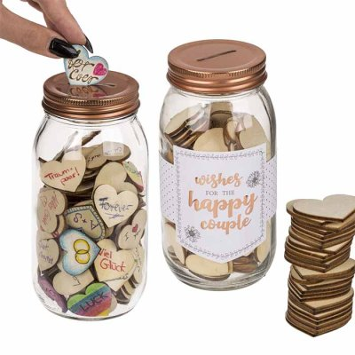Wishes for happy couple Glass Jar with hearts