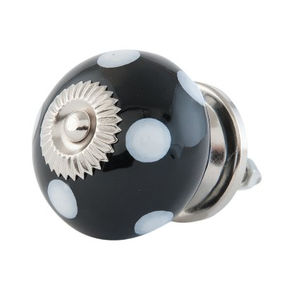 Door knob black with white spots