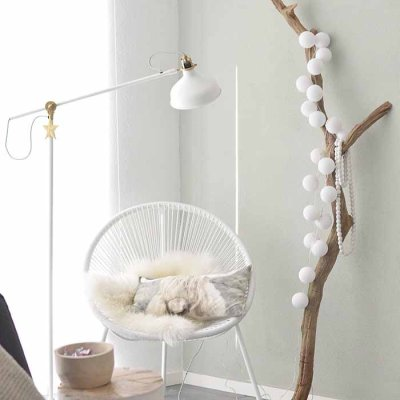 Cotton Ball light string white 20 balls