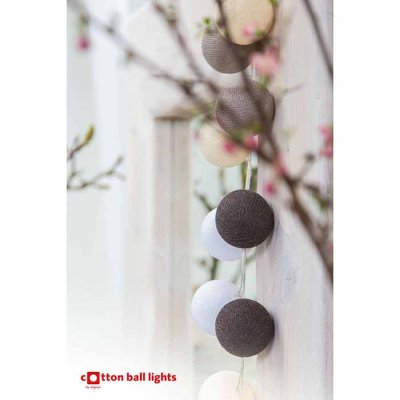 Cotton Ball light string rustic 20 balls