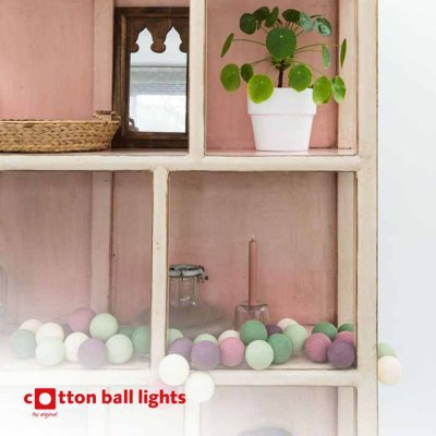 Cotton Ball light string forest fruit 35 balls