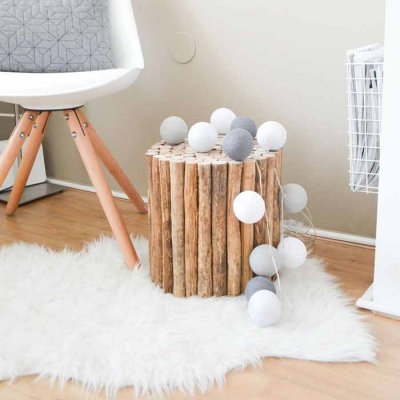 Cotton Ball light string beach stones 20 balls