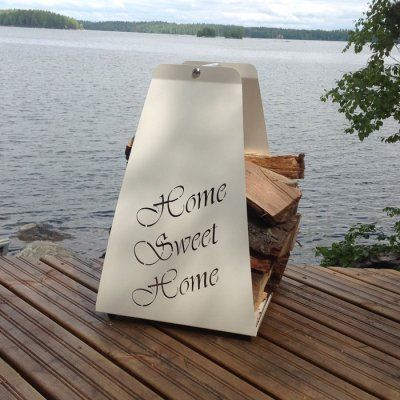 Firewood carrier and holder Sweet Home white