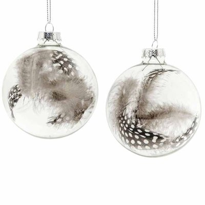 Ball ornament feather 8 cm