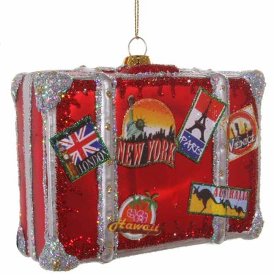 Christmas decoration Luggage glass 12,5 cm