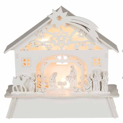 White wooden christmas crib with warm white LED