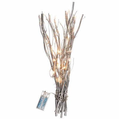 Silver coloured decoration twigs with 20 LED
