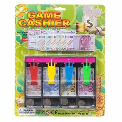 Cash register with play money