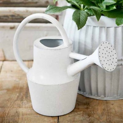 Iron watering can white zinc