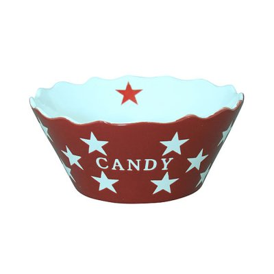 Candy bowl Stars red