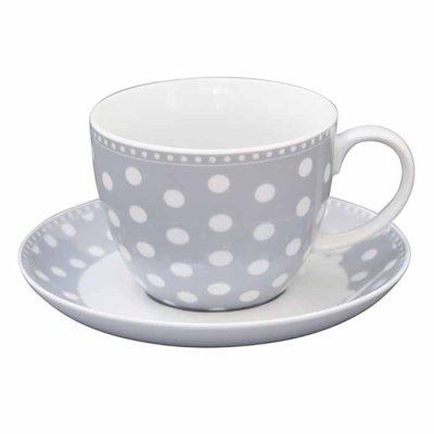 Cup and saucer Dots grey