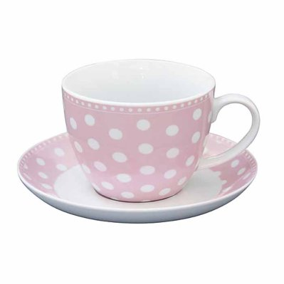 Cup and saucer Dots pink