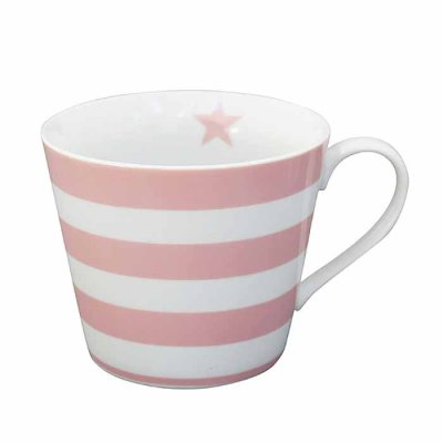 Happy Cup mug Striped pink