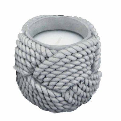 Rope Candle 7,5 cm grey