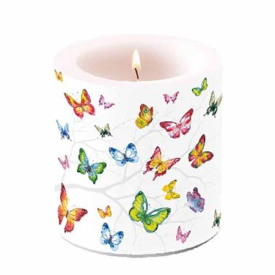 Candle Colourful Butterflies  10 cm