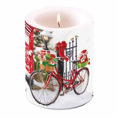 Candle Bike In Snow 12 cm