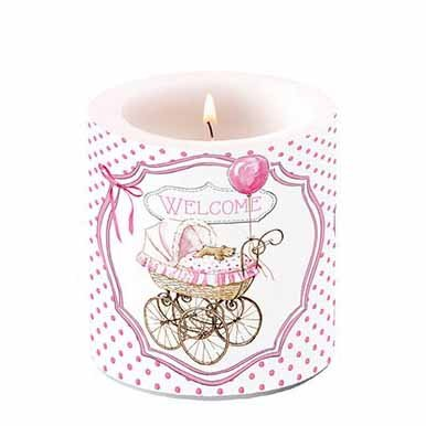 Candle Welcome Baby 10 cm pink