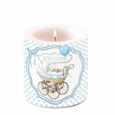 Candle Welcome Baby 10 cm blue