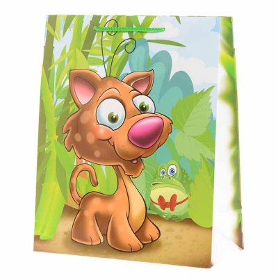 Gift bag dog and frog 32 cm