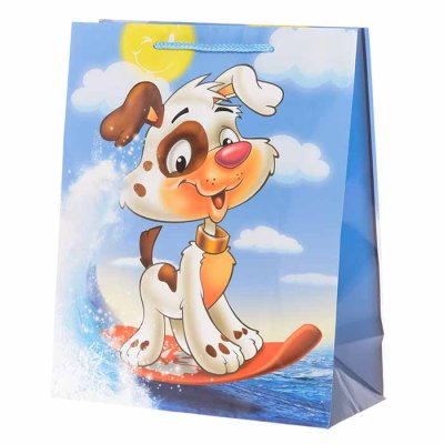 Gift bag dog surfing 32 cm