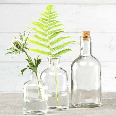 Glass bottle clear 18 cm