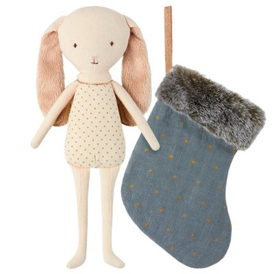Maileg Angel with stocking, blue