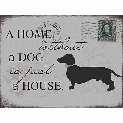 Metal sign Home without a dog