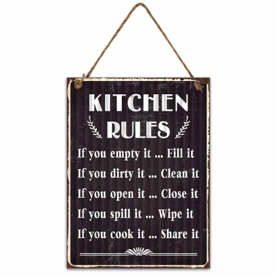 Metal sign Kitchen rules