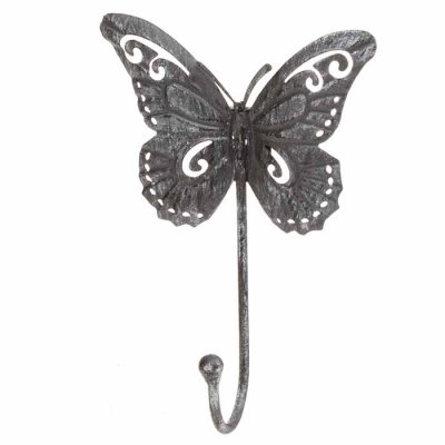 Coat hook butterfly grey