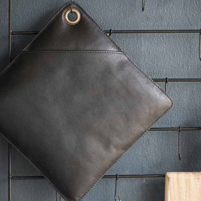 Pot holder Leather Black