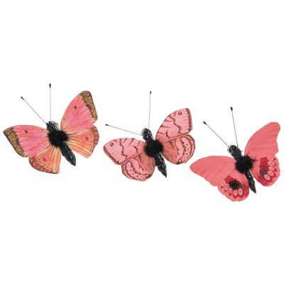 Butterfly ornament with clip coral