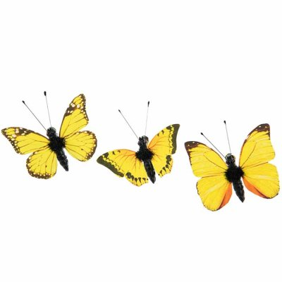 Butterfly ornament with clip yellow