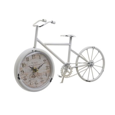 Table clock Bike rustic white
