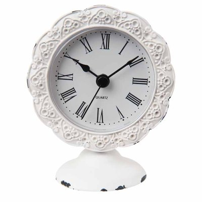 Table clock Lace rustic white