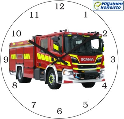 Wall clock 30 cm Fire truck