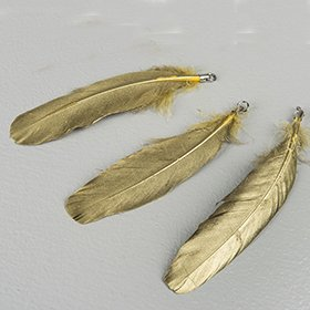 Feather hanger gold 15 cm
