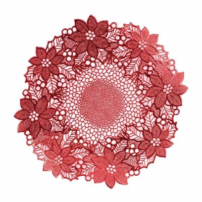 Place mat Flower 40 cm red