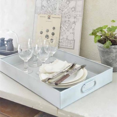 Metal tray rustic white