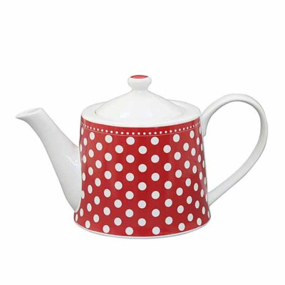 Teapot Dots red