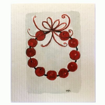 Apple wreath dischcloth