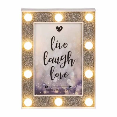 Picture frame with LED lights 10x15 cm glitter