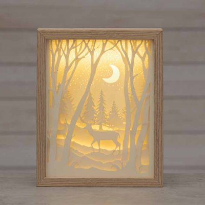 Forest and moon decoration with LED-lights