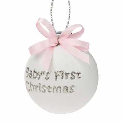 Baby's first christmas decoration pink