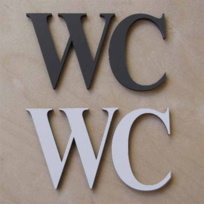 WC letters, different colours