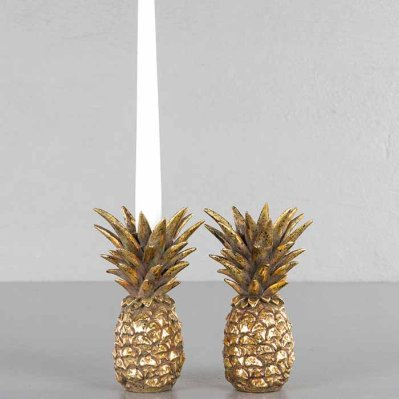 Candle holder Pineapple gold 16 cm