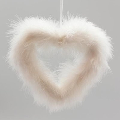 Feather heart 16 cm white