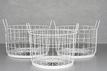 Metal basket antique white, different sizes