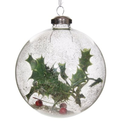 Christmas decoration glass ball holly