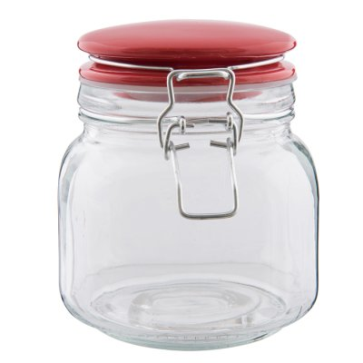 Glass jar with red lid 13 cm